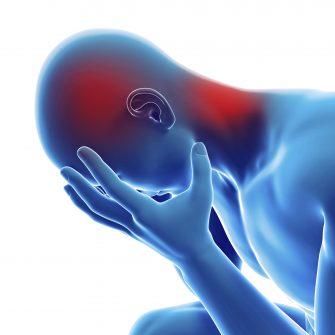 medical 3d illustration - male having a headache